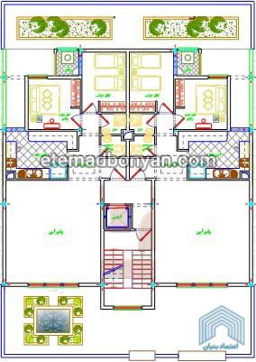 نقشه واحد 3 طبقه 2 خوابه فاز 8 پردیس
