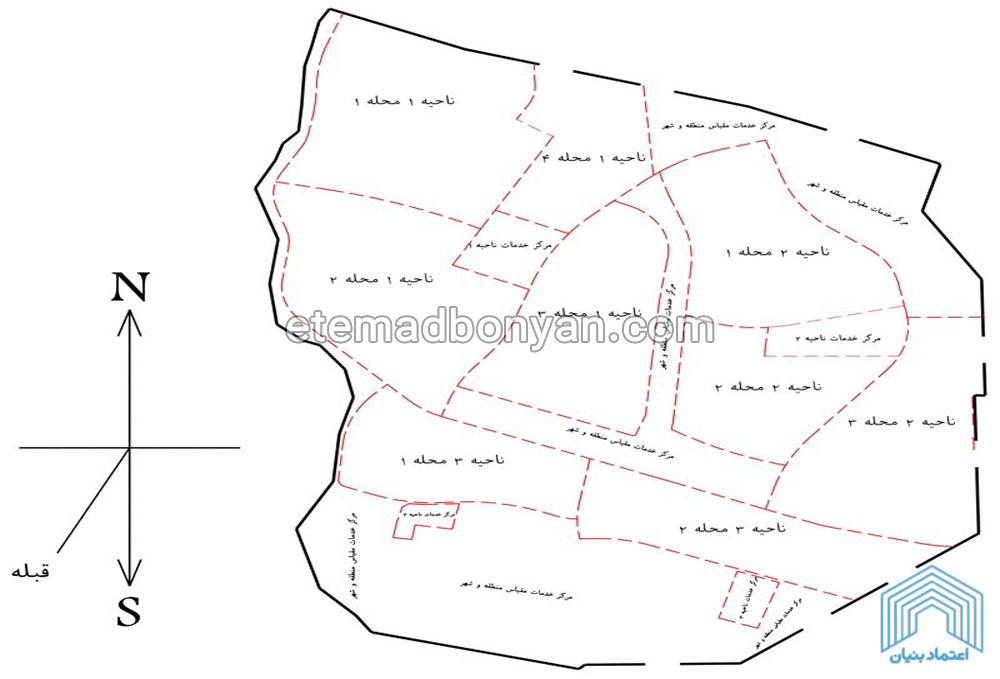 نقشه محله های فاز 11 پردیس