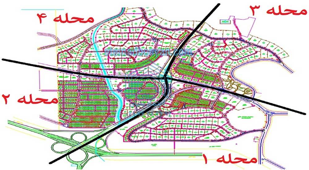 نقشه محله های فاز 2 شهر جدید پردیس